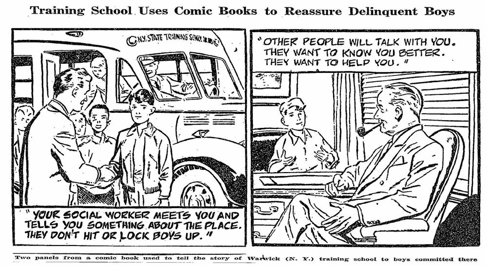 Comic Books Help Curb Delinquency: State School Adopts Idea to Allay Inmates' Fears -- Judge Backs Use