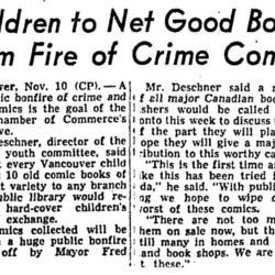 Children to Net Good Books From Fire of Crime Comics